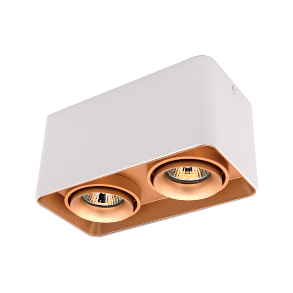 DL-044 SQUARE DOUBLE DOWNLIGHT SURFACE MOUNTED GOLD/WHITE