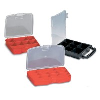 PLASTIC ORGANIZER WITH DIVIDERS 8 SECTIONS RED